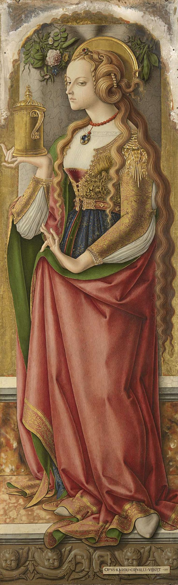 Title(s) Mary Magdalene Description De heilige Maria Magdalena, staande met de zalfpot in de rechterhand. Artist: Carlo Crivelli Dating c. 1480 Measurements h 152 cm × w 49 cm