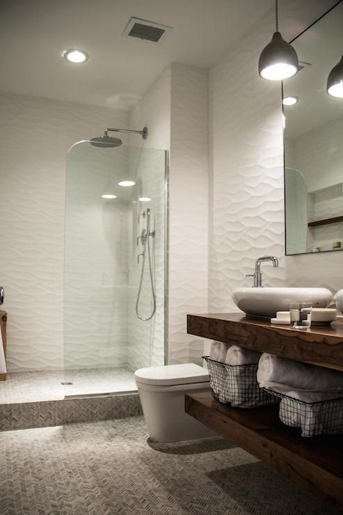 Photographic Gallery HGTV loves this white modern bathroom with a floating wood vanity and large walk in shower