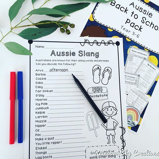Find this Aussie Slang pack in our Back to school Pack.
