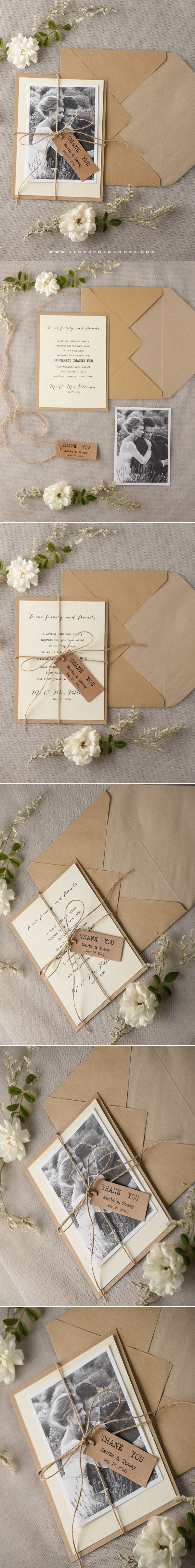 realtree wedding invitations%0A Rustic Wedding Thank You card with your photo  rustic  ecofriendly   thankyou u