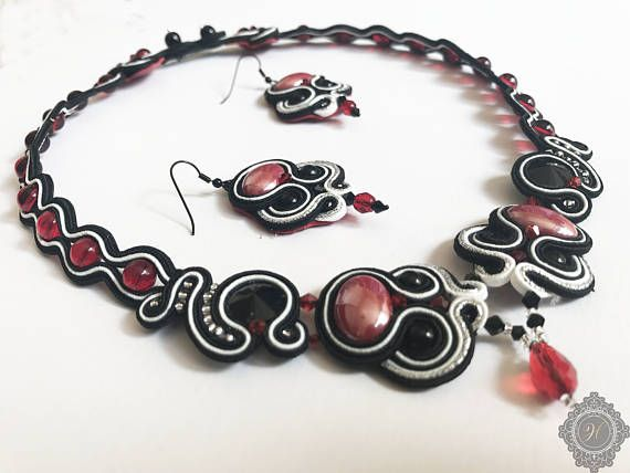 Black white red  beaded embroidered jewelry set soutache