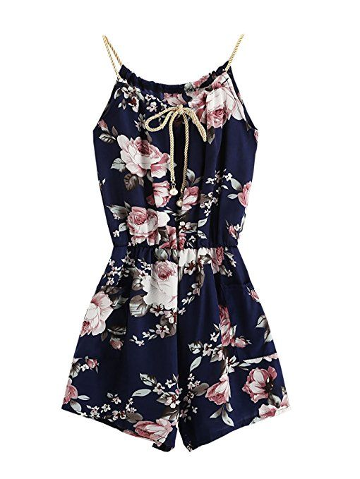 737008e06c5 Amazon.com  MakeMeChic Women s Sexy Strap Floral Print Summer Beach Party  Romper Jumpsuit  Clothing  affiliate