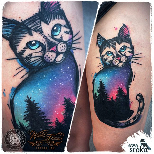 Sky Cat Tattoo Httpgiantfreakintattoocomsky cat tattoo Tattoos Pinterest The Head