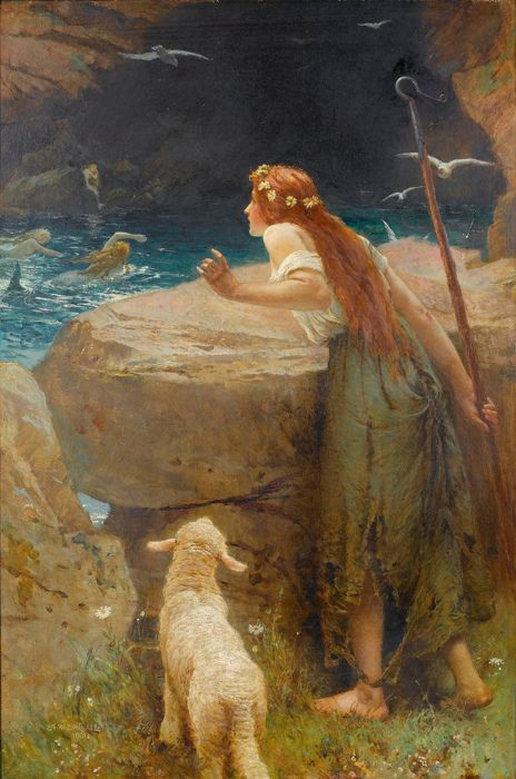 artist - edward Frederick Brewtnall - The Shepherdess but there is a mermaid in the water: Pre Raphaelite, Mermaids, Frederick Brewtnall, Brewtnall 1846 1902, Artist, Shepherdess, Paintings, Photo
