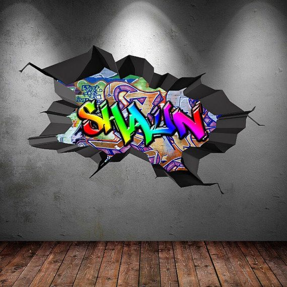Personalised Name Full Colour Graffiti Wall Decals Cracked 3d Wall Sticker Mural…