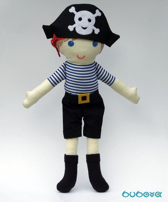 Pirate Boy Fabric Doll With Removable Hat Trousers & Belt