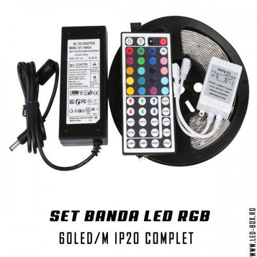 set banda led rgb 5050 smd 60 led metru ip20 non-waterproof , banda led fara silicon , sursa alimntare 5 amperi , controller ir si telecomanda pentru banda led rgb 44 taste infrarosu