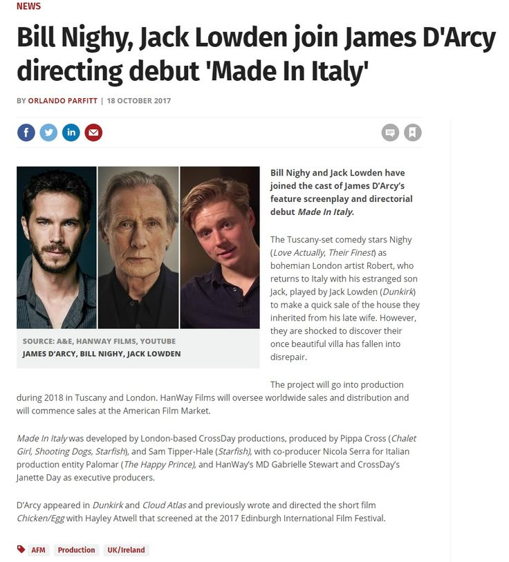 """18 October 2017: James D'Arcy recruits Bill Nighy and Jack Lowden for his directorial debut """"Made in Italy"""" going into production in 2018. https://www.screendaily.com/news/bill-nighy-jack-lowden-join-james-darcy-directing-debut-made-in-italy/5123423.article"""