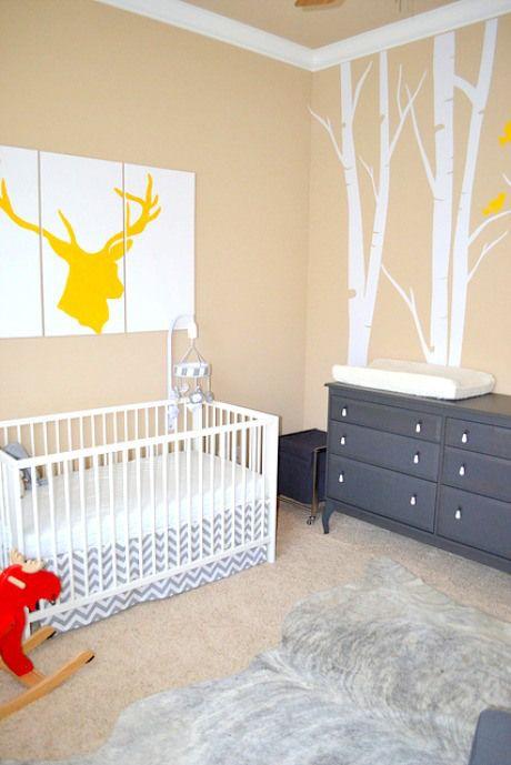 modern nursery chevron sheets deer silhouette art