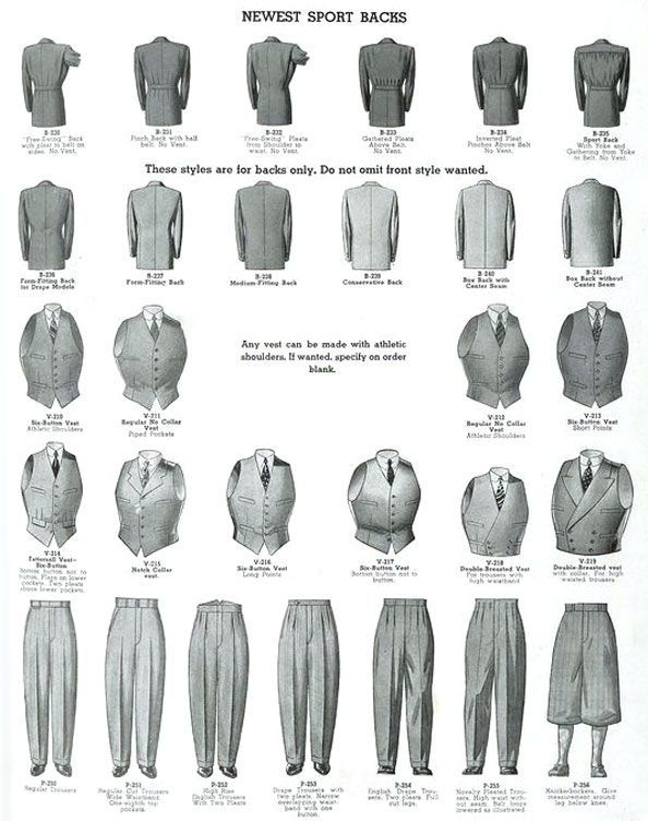 """The cut of men's suits and jackets varied throughout the 1920s and 1930s. The Sacque suits is traditional and what the average man wore. The saque is an unstructured fit, classic Brooks Brothers. The Oxford suit has a trim jacket with a nipped in waist and very full pants. The """"Oxford bag"""" become popular in 1925 when Oxford University banned the wearing of knickers and plus fours in the classroom. Students loved sporty knickers; extra wide legged pants were made that could be worn over them."""