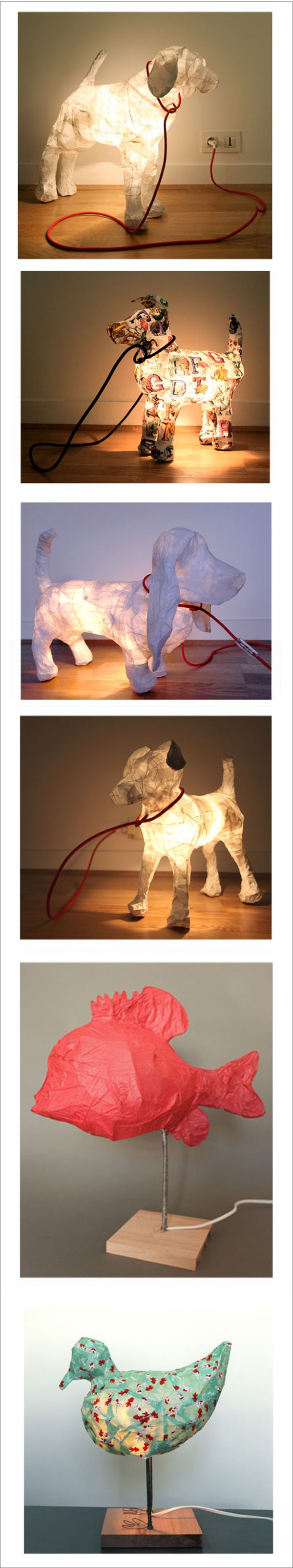 animal-shaped paper lamps - great for those who want a dog but can't have one, or want a guard dog to watch over them at night!