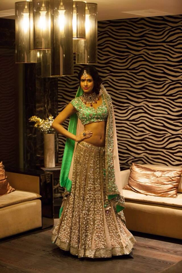 Bridal green and silver designer lehenga