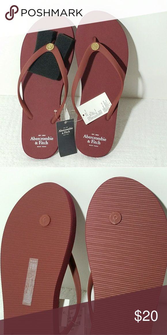 Abercrombie Fitch New York Flip Flops NWT Abercrombie and Fitch New York Flip Flops white letters logo. Size 8-9 color burgundy occasion dressy, everyday, holiday. Spring, summer, and some fall wear. Abercrombie & Fitch Shoes Sandals