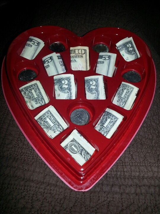 Valentine for teenager.  Thank you whoever started posting the idea of money in chocolate box.  My teenagers now love pinterest!