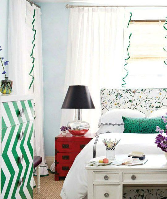 10 Small Bedrooms Organized by (Big!) Style | Apartment Therapy..I love this shade of green and the neutrals of black and white.