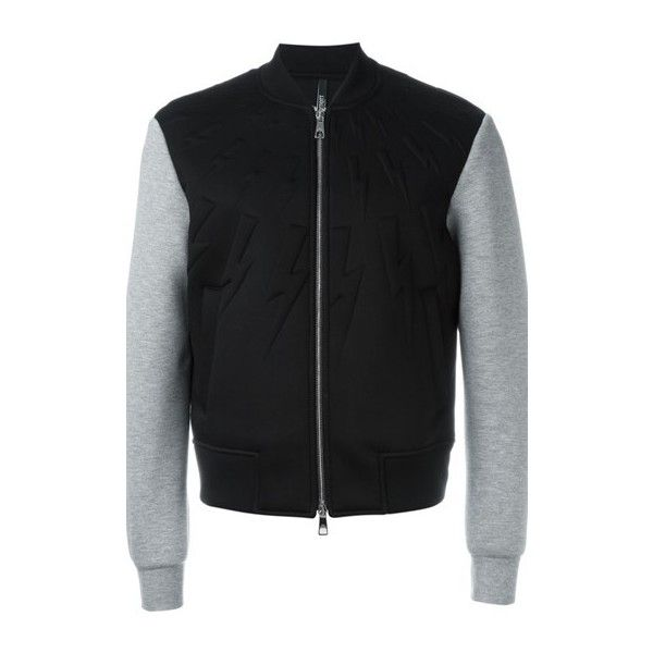 NEIL BARRETT Zipped Varsity Jacket ($802) ❤ liked on Polyvore featuring men's fashion, men's clothing, men's outerwear, men's jackets, black, mens zip up jackets, mens zipper jacket and mens long jacket