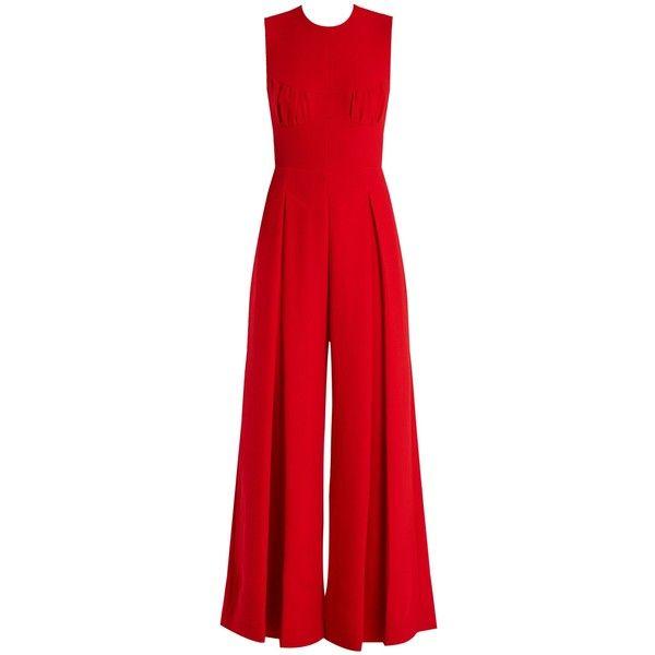 Emilia Wickstead Ethel wide-leg wool-crepe jumpsuit (€1.605) ❤ liked on Polyvore featuring jumpsuits, emilia wickstead, red, special occasion jumpsuits, wool jumpsuit, red jumpsuit and holiday jumpsuits