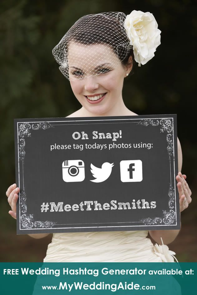 FREE Wedding Hashtag Generator available at MyWeddingAide.com #weddings #weddinghashtags