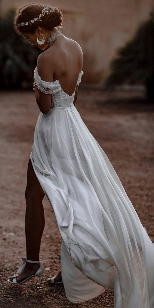 Off Shoulder Chiffon Backless A-Line Slit Lace Charming Wedding Dresse – OkBridal #wedding #weddingdresses #weddingdress #bridalgown #2019weddingdresses