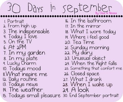 30 Days in September Photo Challenge (also in French); with a Flickr group too