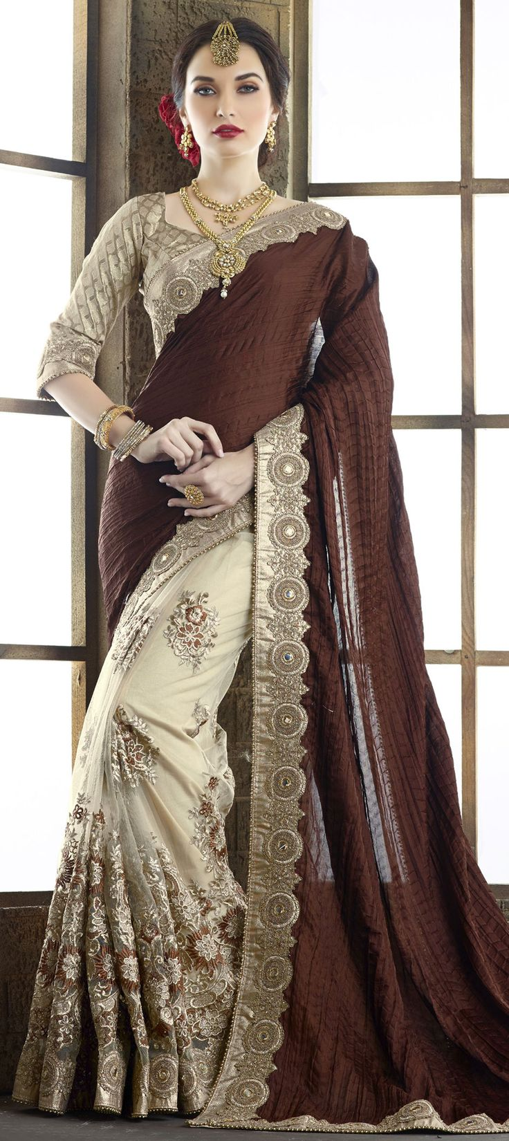 193062: Beige and Brown color family Embroidered Sarees, Party Wear Sarees, Silk Sarees with matching unstitched blouse.