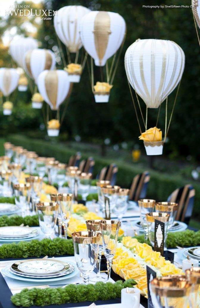 hot air balloons over beautiful places | amazing air balloon decorations and all yellow rose tablescape!