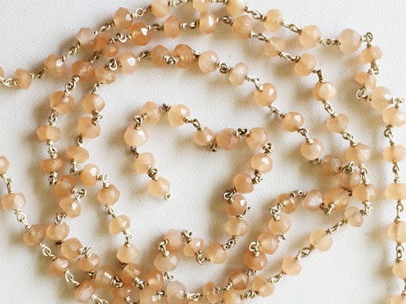 Peach Moonstone Faceted Rondelle Beads in 925 by gemsforjewels