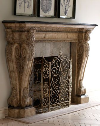 """Brookstone"" Mantel by Ambella at Horchow."