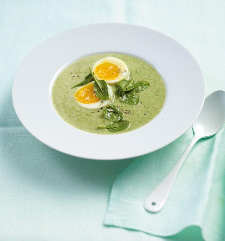 Lauch-Spinat-Cremesuppe: Diese Suppe ist schnell gemacht und Kartoffeln und Ei sind tolle Sattmacher. Guten Appetit!