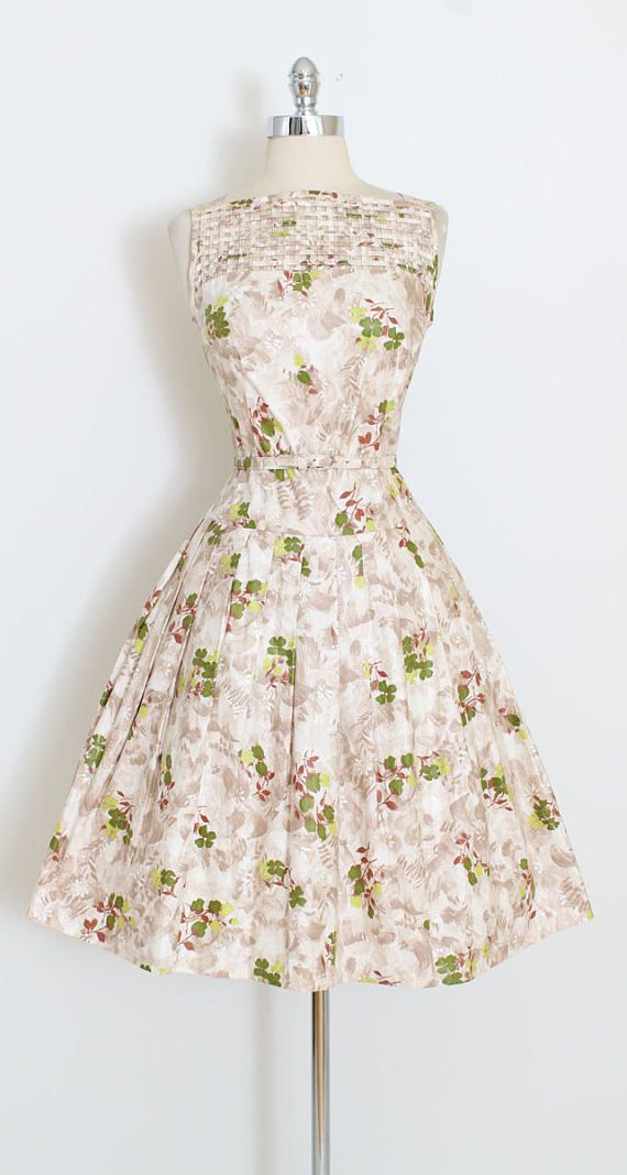 ➳ vintage 1950s dress * look at that lattice detail! * polished cotton in floral print * cutout lattice details * full skirt * metal back zipper * matching belt condition | excellent fits like medium length 41 bodice 16 bust 36 (2 finished allowance can be let out) waist 28 ➳ shop http://www.etsy.com/shop/millstreetvintage?ref=si_shop ➳ shop policies http://www.etsy.com/shop/millstreetvintage/policy twitter | MillStVintage facebook | mill...