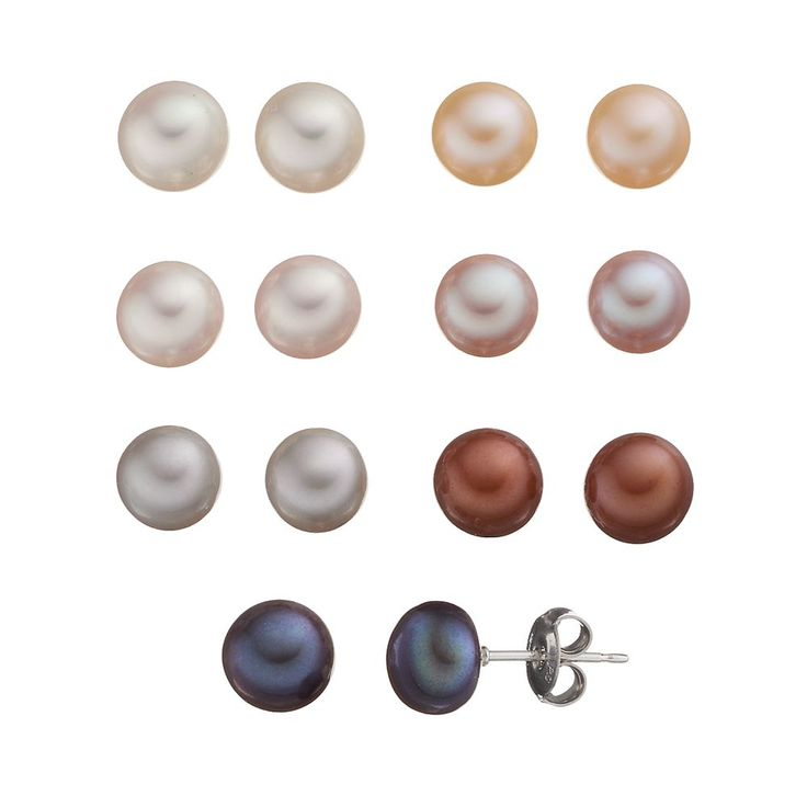 Sterling Silver Dyed Freshwater Cultured Pearl Earring Set, Women's, Grey