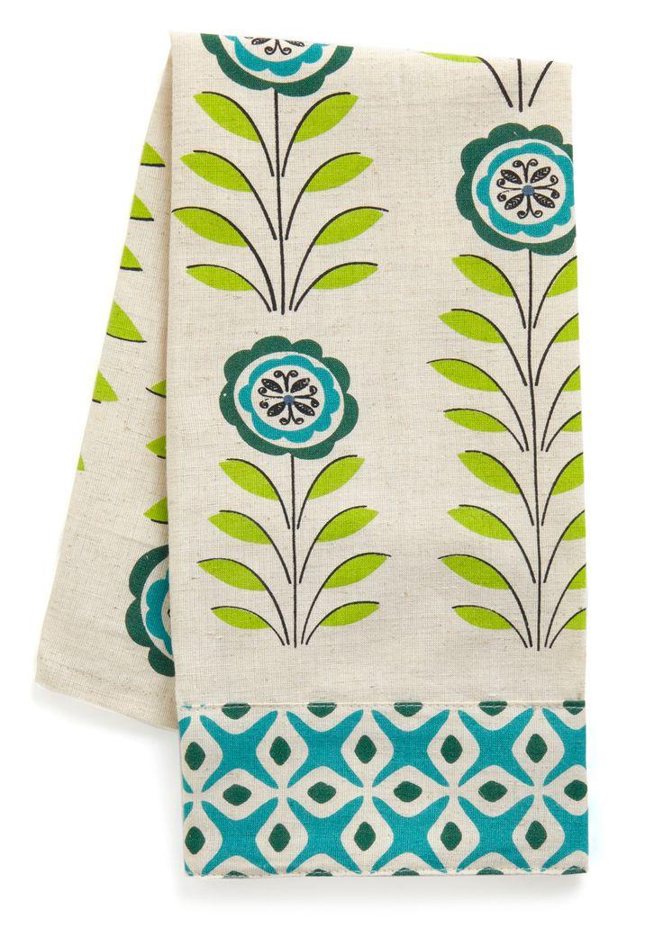 Dig In Tea Towel - Green, Blue, Floral, Print, Vintage Inspired, Dorm Decor