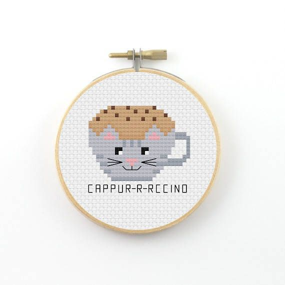 Cappurrrcino cross stitch pattern, cappuccino, coffee pun cross stitch, modern c… – Chan SzeMin