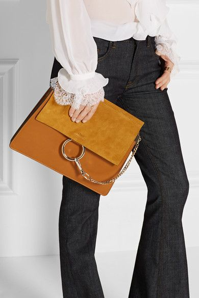 Brown leather, mustard suede (Calf) Snap-fastening front flap Designer color: Mustard Brown Comes with dust bag Weighs approximately 4lbs/ 1.8kg Made in Italy
