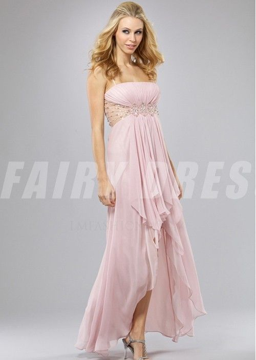 Robe de bal haut-bas rose à A-ligne à taille transparente ornée de strass avec bretelle fine - Robe de bal sexy - Robe de bal