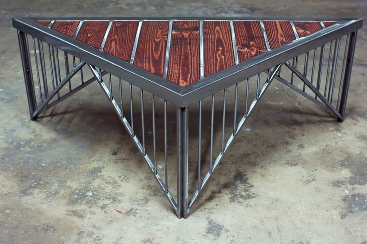My custom crafted metal and wood tables and shelves - The Garage