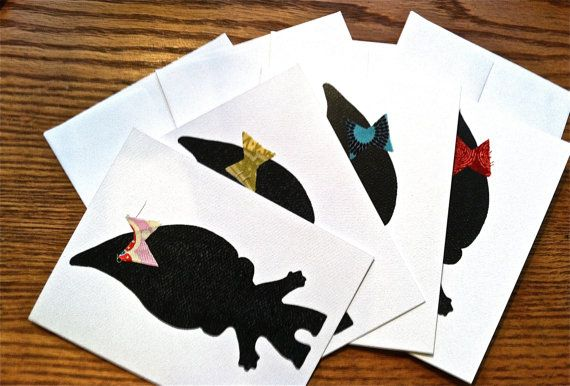 """Blank Silhouette Troll with Bow Greeting Cards (4.25"""" x 5.5"""") for Any Occasion"""