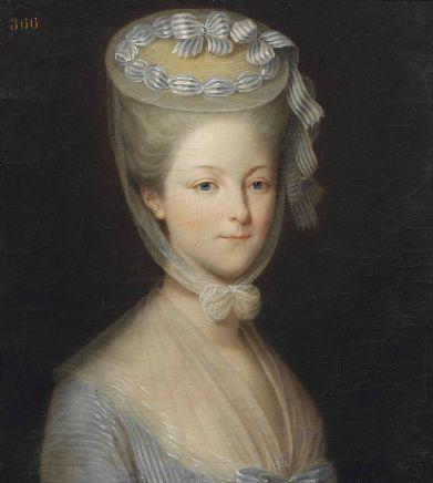 A portrait of Princess Marie-Thérèse-Louise de Savoie-Carignan, the princesse de Lamballe. Attributed to Pierre Cladue Francois Delorme.
