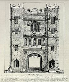 Newgate Prison was a prison in London, at the corner of Newgate Street and Old Bailey just inside the City of London. It was originally located at the site of Newgate, a gate in the Roman London Wall. The gate/prison was rebuilt in the 12th century, and demolished in 1904. The prison was extended and rebuilt many times, and remained in use for over 700 years, from 1188 to 1902.