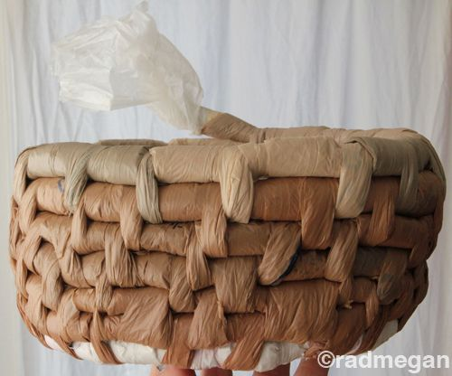 Basket made from plastic grocery bags! So cool, what a great way to recycle!