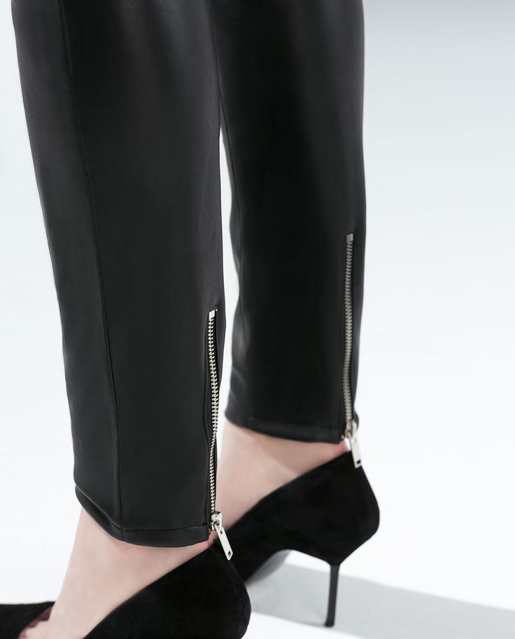 ZARA - COLLECTION SS15 - FAUX LEATHER BIKER TROUSERS WITH ZIPS
