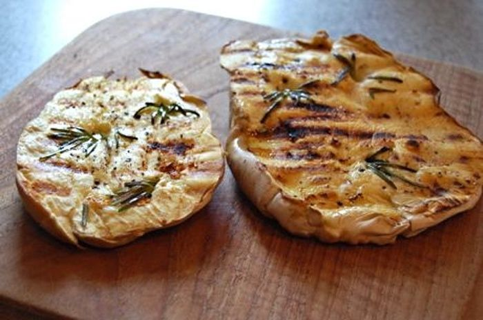 Grilled puffball mushrooms with rosemary and garlic