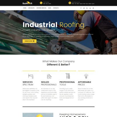 Roofing Company Bootstrap Moto CMS 3 Template