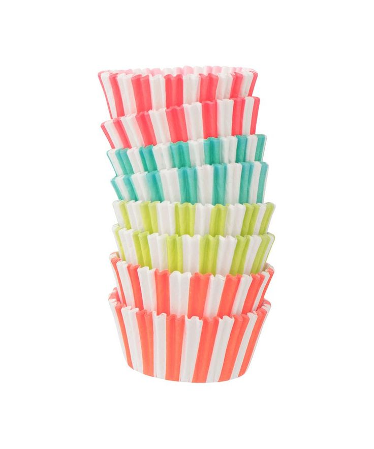 """- Set of 100 cupcake liners - Paper - Cup measures 2"""" x 1 1/4"""" - Standard cupcake - 4 assorted colors"""