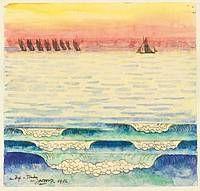 Zeilboten op zee Johannes Theodoor Jan Toorop