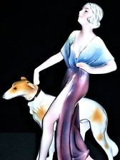 ANTIQUE ART DECO GOLDSCHEIDER QTY KATZHUTTE LADY & BORZOI DOG PORCELAIN FIGURINE
