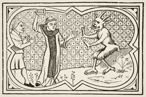 The Devil Attempts To Seize A Magician Who Had Formed A Pact With Him But Is Prevented By A Lay Brother. After A Miniature In The 13Th Century Manuscript Chroniques De Saint-Denis. From Science And Literature In The Middle Ages By Paul Lacroix Published London 1878 Poster Print (36 x 24)