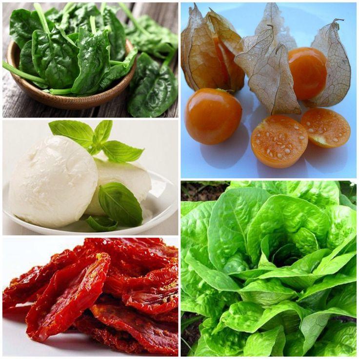 Ensalada con lechuga, espinaca, tomates secos, mozzarella fresca y uchuvas; con aderezo básico de vinagre balsámico, sal, pimienta y aceite de oliva.