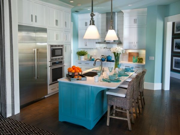 Die besten 25+ blau Kücheninsel Ideen auf Pinterest Blaues - kuche blaue wande