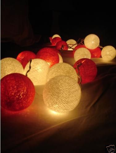 Red and White Cotton ball fairy string patio christmas party lights. Or for Canada Day OR Valentines Day
